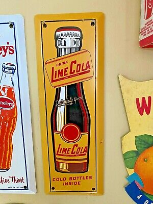 Vintage Drink Lime Cola Bottle Door Push Sign ORIGINAL Soda Fountain