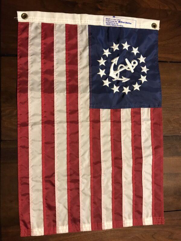 VINTAGE NYLON 13 STAR AMERICAN FLAG WITH ANCHOR BOAT SHIP YACHT FLAG 16x24