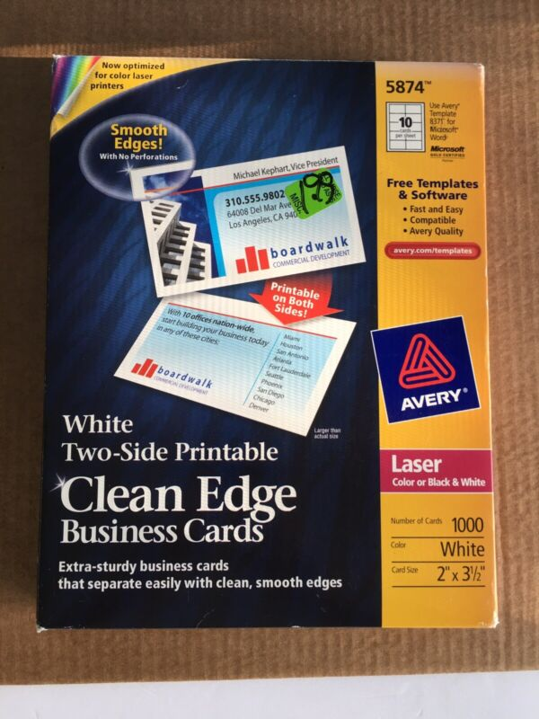 """AVERY 5874 CLEAN EDGE BUSINESS CARDS WHITE LASER 2"""" x 3 1/2"""" BOX of 1000"""