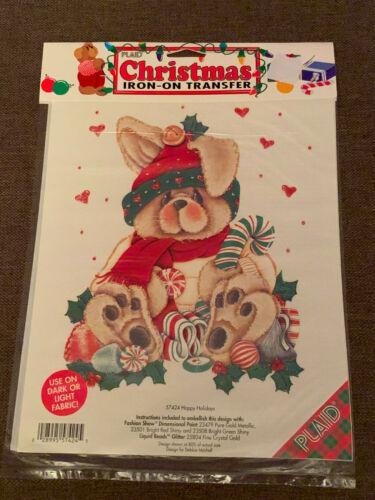 PLAID Christmas Iron-On Transfer, HAPPY HOLIDAYS Debbie Mitchell 57424, NEW