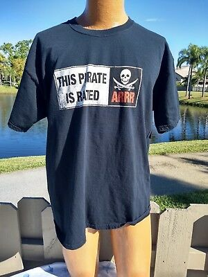 PIRATE T SHIRT THIS PIRATE IS RATED ARRR ADULT XL BLACK 100% COTTON NWOT