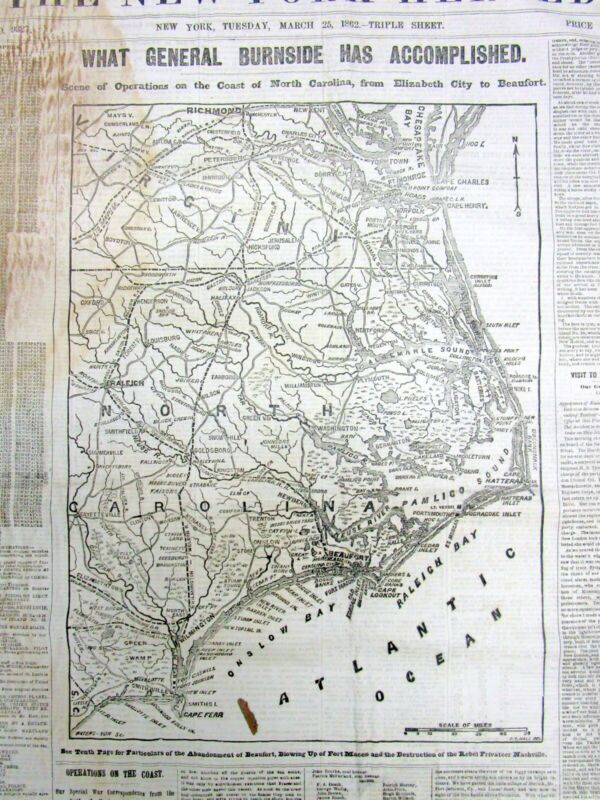1862 Civil War newspaper with large detailed MAP of NORTH CAROLINA Outer Banks