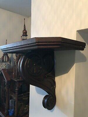 Stunning Large Mahogany Clock Bracket Shelf