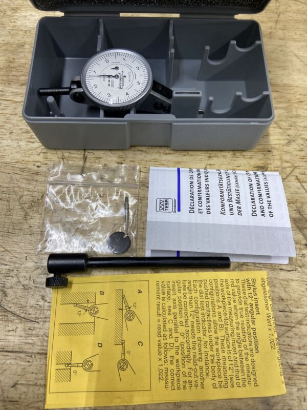 """Interapid 74.111372 312b-3 .0001"""" .016"""" Dial Test Indicator w/extras Swiss Made"""