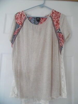 MISSES DAY TRIP* MULTI PASLEY PRINT & LACE BACK BOAT NECK SHORT SLEEVE TOP : XXL