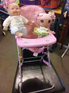 Baby doll high chair +lalaloopsy doll+baby doll vgc Meadow Springs Mandurah Area Preview