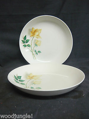 2 Vintage CANONSBURG POTTERY SKY LINE TEMPTATION YELLOW ROSE SERVING BOWLS