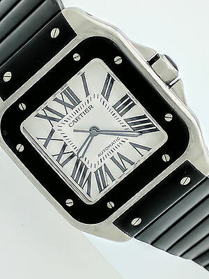 Cartier Santos 100 Large Automatic 2656 Black Rubber Stainless Steel Watch