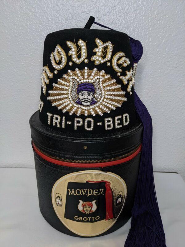 Vintage MOVPER Grotto Jeweled Fez, Enchanted Lantern Turtle Pins, Case Masonic