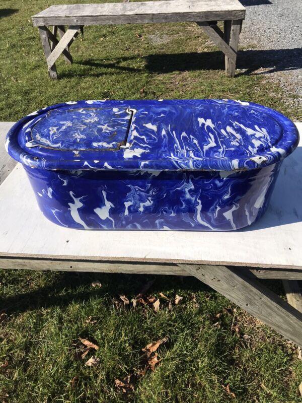 Antique Blue Diamondware Enamelware Water Boiler Graniteware