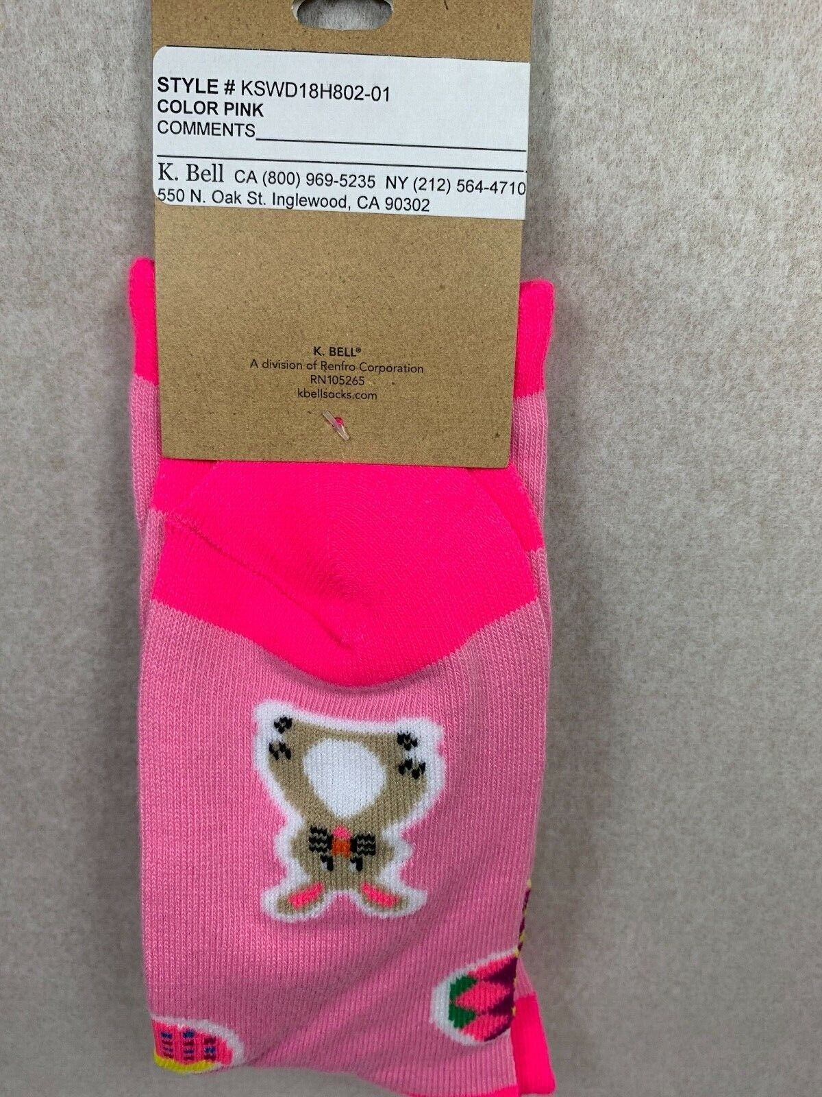 HAPPY ESTER WOMEN CREW SOCKS SIZE 9-11 BY K.BELL PINK RELIGION ITEM Clothing, Shoes & Accessories