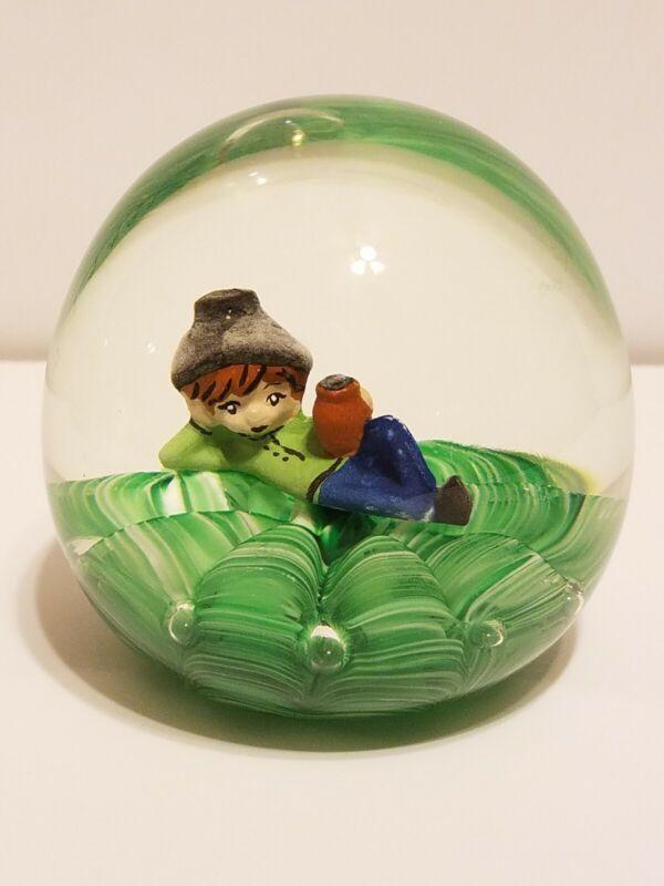 St Clair Nephew JOE RICE 2001 SULFIDE Boy Elf / Pixie Jug Art Glass PAPERWEIGHT