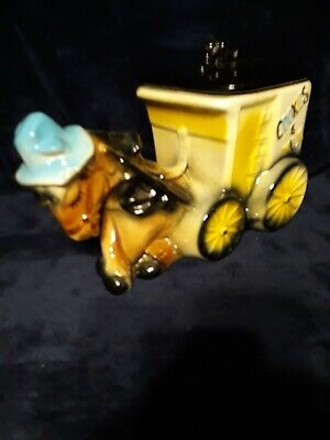 Vintage Horse and Carriage Ceramic Cookie Jar | W/Lid USA | Ships Fast