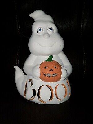Vtg Large Ceramic Boo Ghost Hold Pumpkin Halloween Decor Mint Light