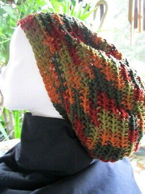 Handmade Crocheted Rasta Reggae Dreadlocks Tam Beret Fall Tones Slouchy -