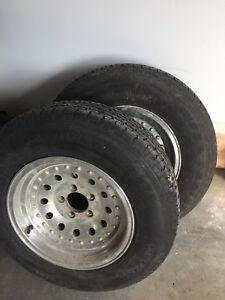 Trailer tires. On aluminum rims
