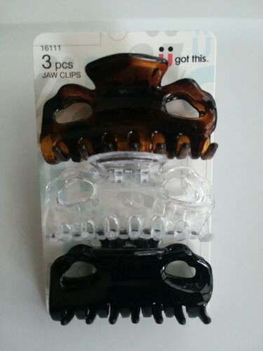 SCUNCI 3 PIECE LADIES SMALL HAIR JAW CLIPS BROWN, CLEAR, BLA