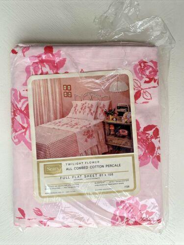 NOS Vintage Sears PINK Wide ROSE Border FULL Flat Sheet  ~ NEW Pkg