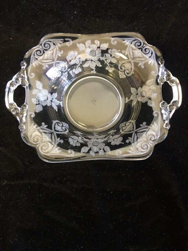 Cambridge Glass Company Apple Blossom 2 hdld square bon bon dish