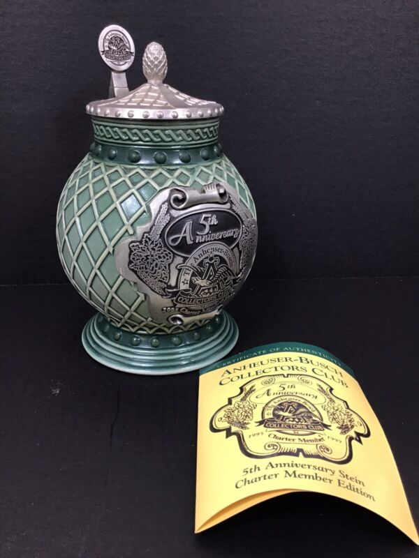 Anheuser-Busch Collectors Club 5th Anniversary Stein Charter Member Numbered