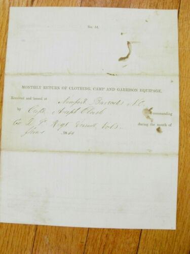 NEWPORT NORTH CAROLINA CIVIL WAR  1864 REPORT
