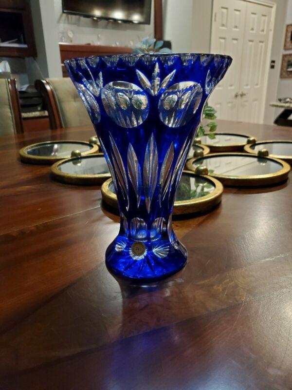 Vintage Antique Estate Ebeling Reuss Cobalt Blue Crystal Vase