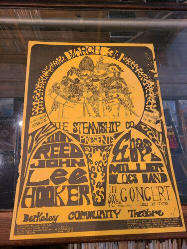 Jimmy Reed Steve Miller John Lee Hooker  Berkeley Community Theater Poster 1967