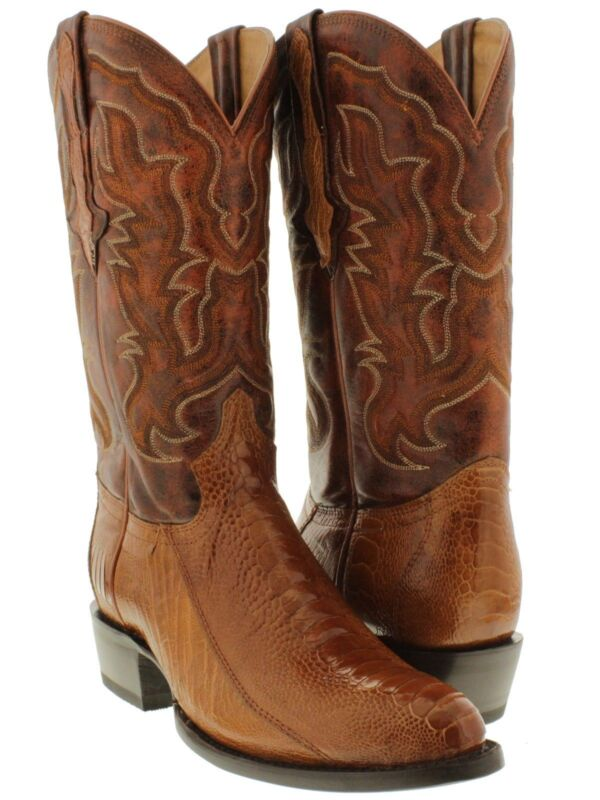 Mens, Cognac, Exotic, Ostrich, Skin, Western, Cowboy, Boots, Smooth, Leather, Round, Toe