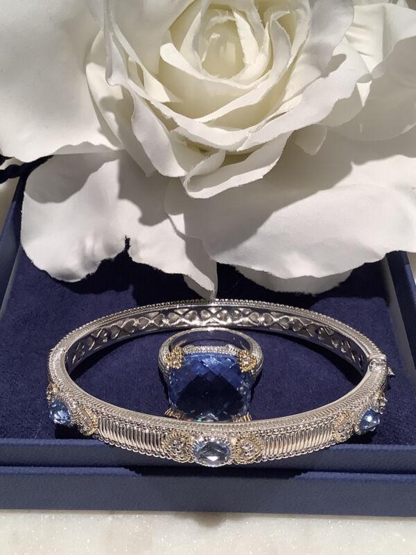 Judith Ripka 925 Sterling Silver & 18k Gold Ring & Bracelet Set Ring Sz 7