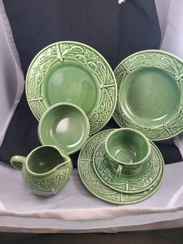 World Market Bordello Pinheiro Dragonfly green Plate cup bowl creamer. Portugal