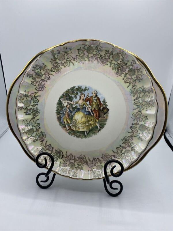 W.S. George Bolero Colonial Scene Handled Cake Serving Plate Iridescent Flowers