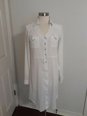 Athleta White Snap Front Shirt Dress Long Sleeve w Roll Tab Size Small -