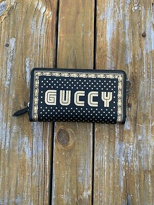"""Gucci Black Leather Zip Around SEGA Wallet with Gold """"GUCCY"""""""