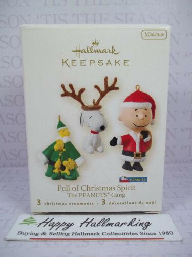 Hallmark 2008 Full Of Christmas Spirit Peaunts Gang Set of 3 Miniature ornaments
