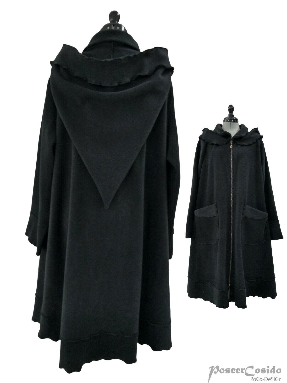 LAGENLOOK Fleece Jacke Kurz-Mantel schwarz L-XL-XXL-XXXL 44 46 48 50 52 54 56 58