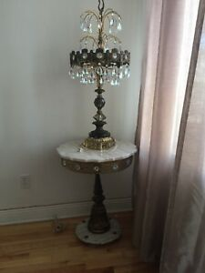 Marble Tables (set of 3) & 2 - Lamps crystal motif.