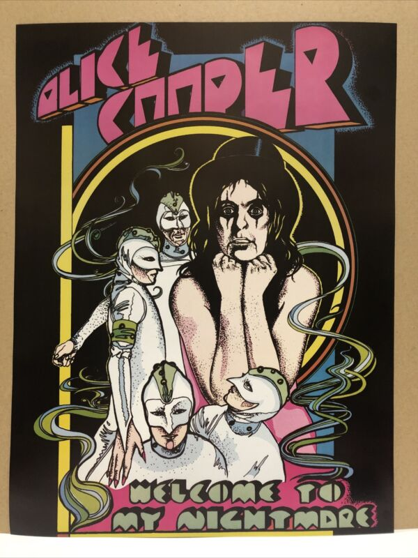"""RETRO ALICE COOPER WELCOME TO MY NIGHTMARE BAND ROCK PROMO POSTER 24"""" X 18"""""""