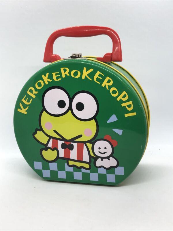 Vintage Sanrio Japan Kero Kero Keroppi Frog Tin Box 1991 with Red Handle