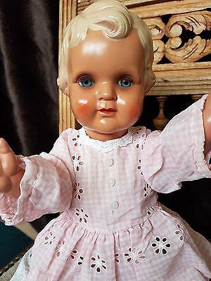 Minerva Celluloid Puppe 43 cm Glasaugen
