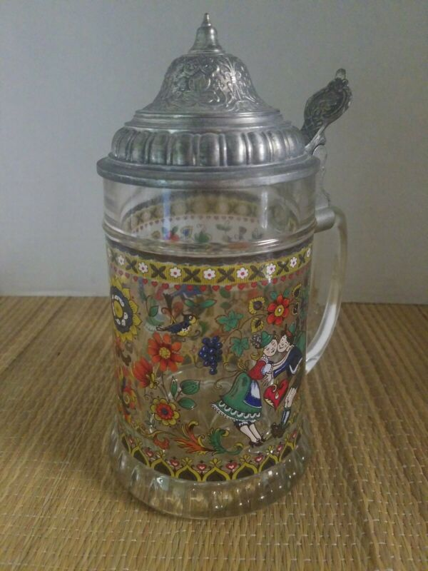 VINTAGE West Germany Beer Stein Courting Couple Glass BMF Pewter Lid ~EXC COND~