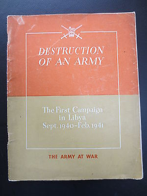 WW2 Book Libya 1st Campaign  1940-1 Destruction of an Army Wartime HMSO Tobruk