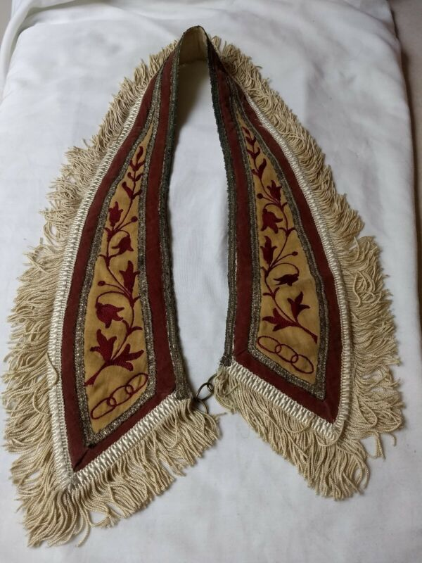 Vintage  IOOF Odd Fellows Rebekah  Lodge Red Ebroidered Lily Collar White Fringe