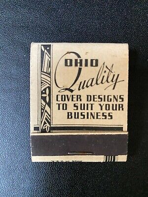 "Vtg Ohio Quality Advertising Match Books. Front Stricker "" 1930 Deco Design"""