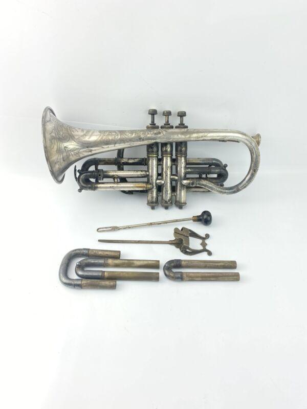 Antique American Brand Buescher Band Inst. Co Elkhart Indiana CORNET Trumpet