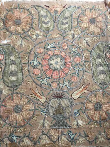 18th century or earlier cut work needlework, sampler, Tulips, metal threads