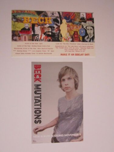 Beck 1996 Odelay Promo Double Sided Card And 1998 Mutations Promo Handbill Lot