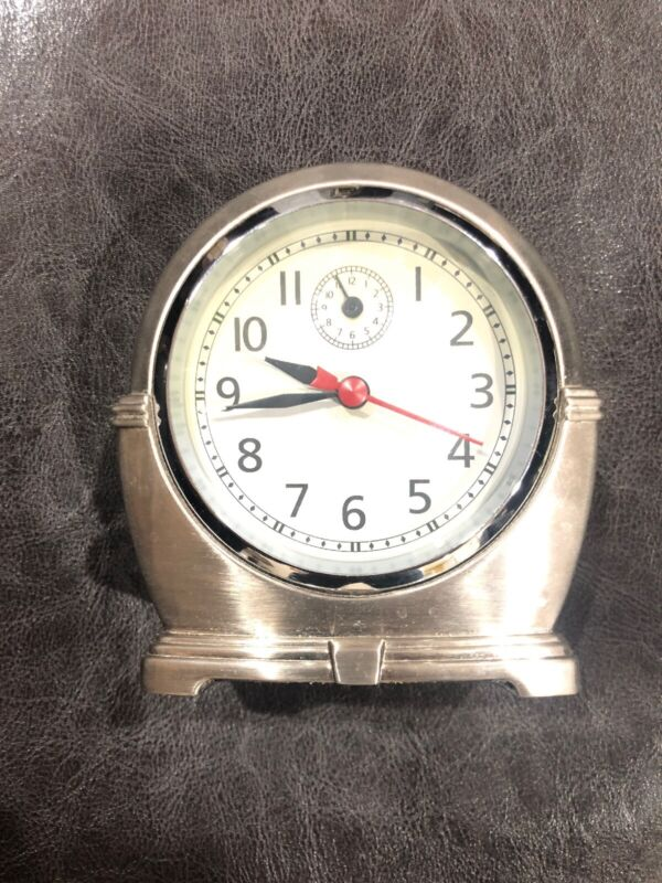 POTTERY BARN ~ Retro Style Battery Operated Table Clock ~ Metal ~