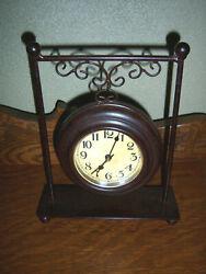 NICE VTG Rustic Retro Tabletop Clock Metal Glass Farmhouse Primitive