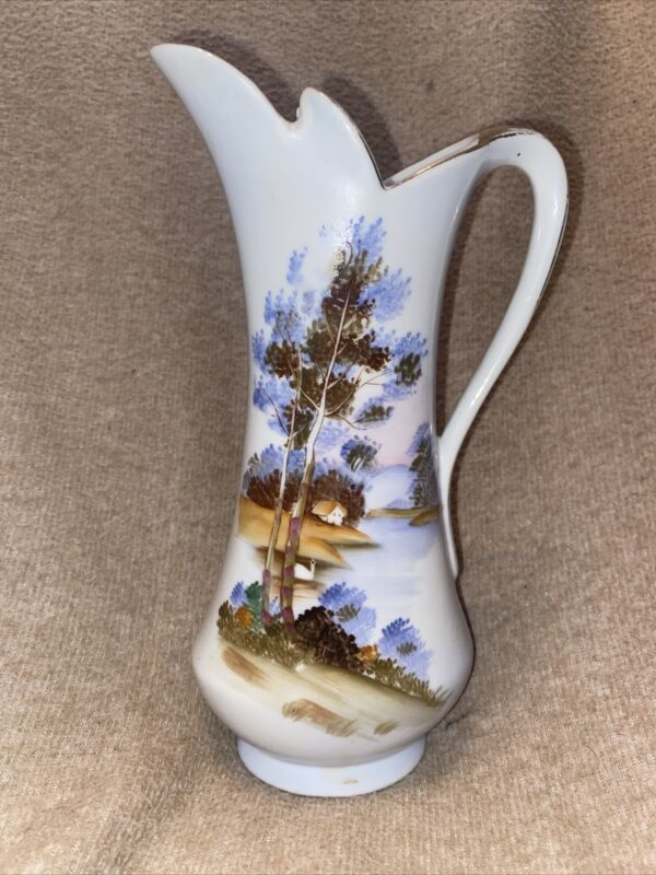 Vintage gold rim milk syrup pitcher Wilderness theme with house and trees