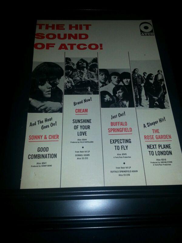 Sonny & Cher, Cream, Buffalo Springfield Rare Original Promo Poster Ad Framed!